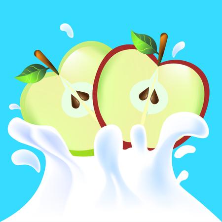 yoghurt: Red and green vector fresh tasty half apple falling in white milk yoghurt splash on blue background of vitamine fruit
