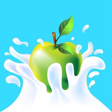 yoghurt: Green vector fresh tasty apple falling in white milk yoghurt splash on blue background of vitamine fruit