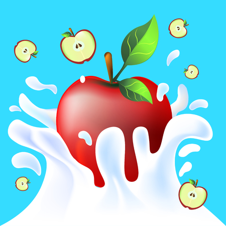 Red vector fresh tasty apple falling in white milk yoghurt splash on blue background of vitamine fruit 矢量图像