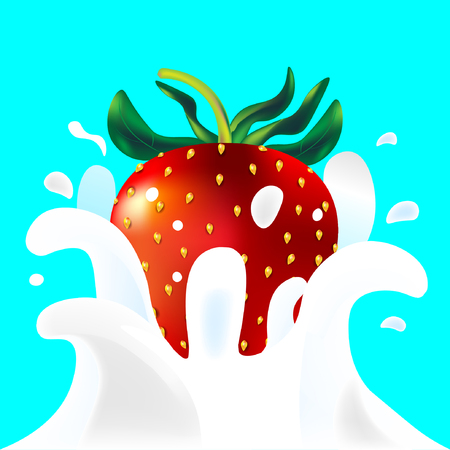 Red vector fresh tasty strawberry falling in white milk yoghurt splash on blue background of vitamine fruit berry Illustration