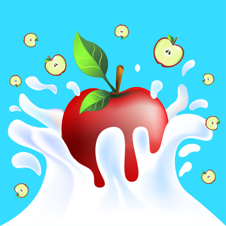 yoghurt: Red vector fresh tasty apple falling in white milk yoghurt splash on blue background of vitamine fruit Illustration