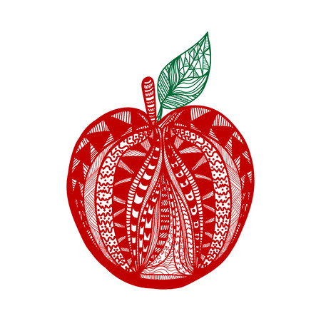 vitamine: One red vector fresh tasty apple with green leaves from pattern on white background of vitamine fruit