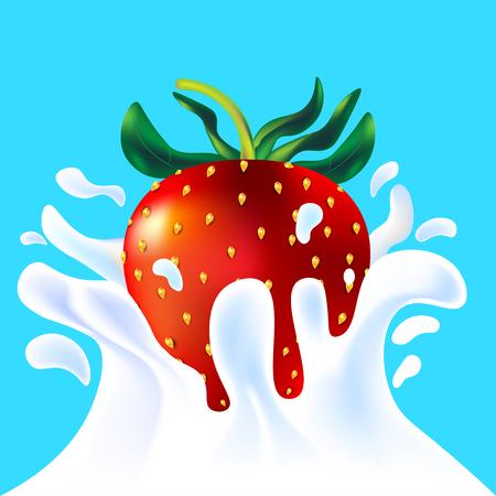 yoghurt: Red vector fresh tasty strawberry falling in white milk yoghurt splash on blue background of vitamine fruit berry Illustration