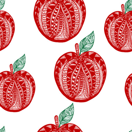 vitamine: One red vector fresh tasty apple with green leaves from pattern on white seamless background of vitamine fruit Illustration