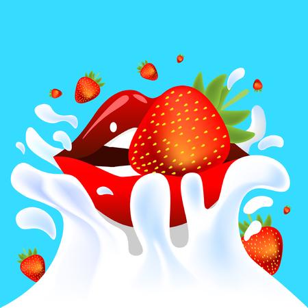 yoghurt: Red vector female lips with fresh tasty strawberry falling in white milk yoghurt splash on blue background of vitamine fruit berry