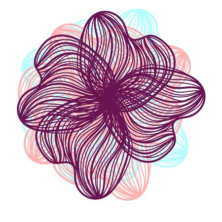 flower on head: Abstract illustration of one bright floral vector graphic flower head beautiful shape purple pink blue color on white background