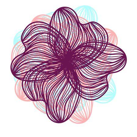 Abstracte illustratie van een lichte florale vectorafbeelding bloem hoofd mooie vorm paars, roze, blauwe kleur op een witte achtergrond Vector Illustratie
