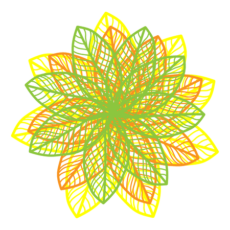 flower on head: Abstract illustration of one bright floral vector graphic flower head beautiful shape green yellow orange color on white background