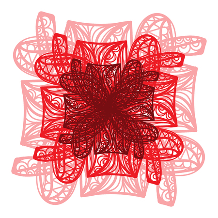 flower on head: Abstract illustration of one bright floral vector graphic flower head beautiful shape red brown color on white background