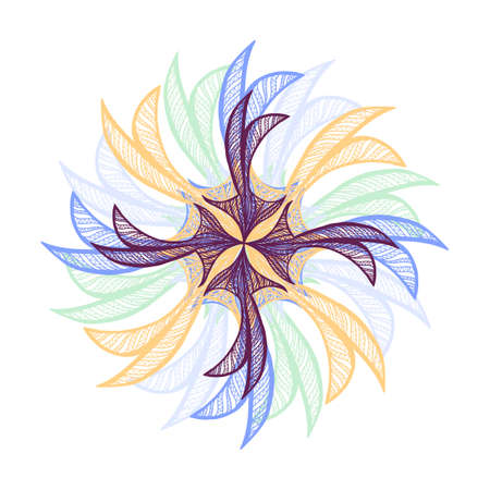 flower on head: Abstract illustration of one bright floral vector graphic flower head beautiful shape different color on white background