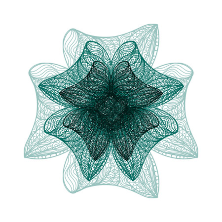 flower on head: Abstract illustration of one bright floral vector graphic flower head beautiful shape green color on white background