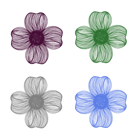 flower on head: Abstract illustration set of four bright floral vector graphic flower head beautiful shape purple grey blue green color on white background Illustration