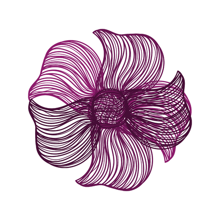 flower on head: Abstract illustration of one bright floral vector graphic flower head beautiful shape purple color on white background
