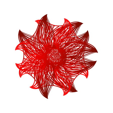 flower on head: Abstract illustration of one bright floral vector graphic flower head beautiful shape red color on white background