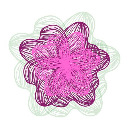 flower on head: Abstract illustration of one bright floral vector graphic flower head beautiful shape purple pink color on white background