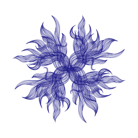flower on head: Abstract illustration of one bright floral vector graphic flower head beautiful shape blue color on white background Illustration