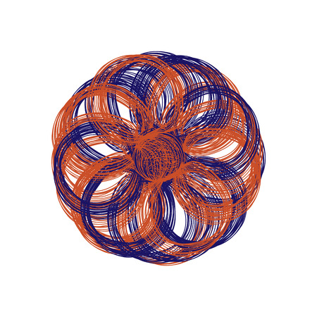 flower on head: Abstract illustration of one bright floral vector graphic flower head beautiful shape orange blue color on white background