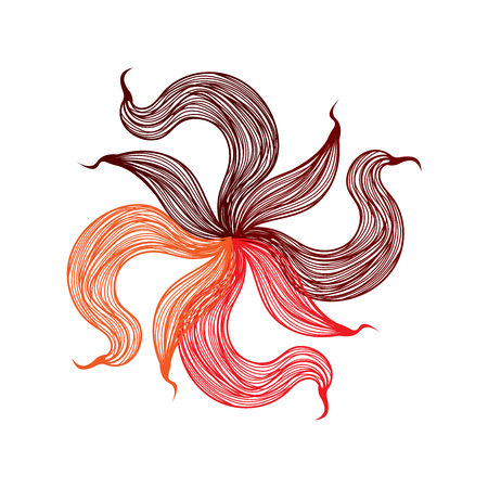 flower on head: Abstract illustration of one bright floral vector graphic flower head beautiful shape red orange brown color on white background Illustration
