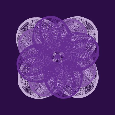 flower on head: Abstract illustration of one bright floral vector graphic flower head beautiful shape lilac color on violet background Illustration