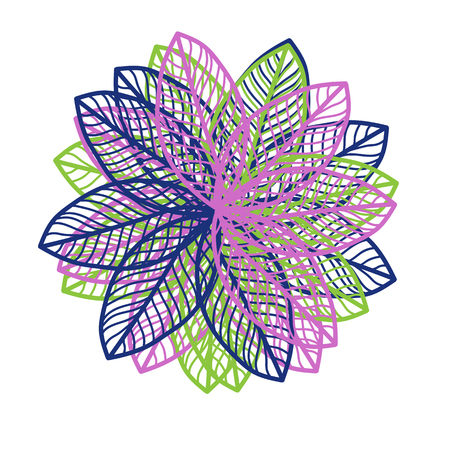 Abstract illustration of one bright floral vector graphic flower head beautiful shape lilac blue green color on white background