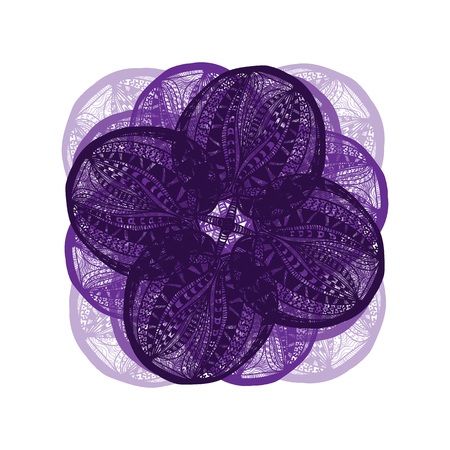flower on head: Abstract illustration of one bright floral vector graphic flower head beautiful shape violet color on white background