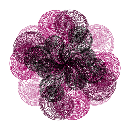 flower on head: Abstract illustration of one bright floral vector graphic flower head beautiful shape purple black color on white background