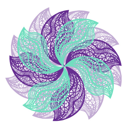 flower on head: Abstract illustration of one bright floral vector graphic flower head beautiful shape lilac blue color on white background Illustration