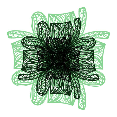 flower on head: Abstract illustration of one bright floral vector graphic flower head beautiful shape green black color on white background
