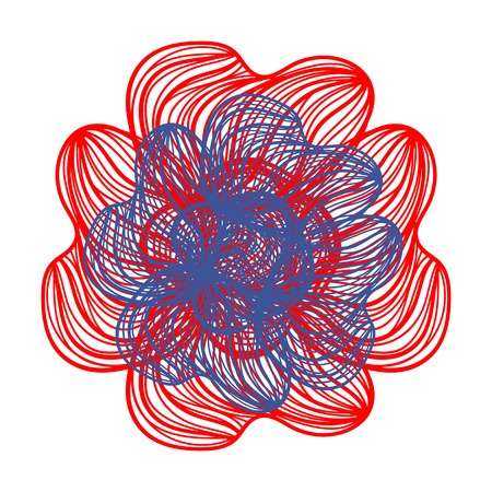 flower on head: Abstract illustration of one bright floral vector graphic flower head beautiful shape red blue color on white background