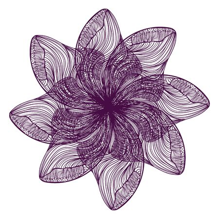 flower head: Abstract illustration of one bright floral vector graphic flower head beautiful shape violet color on white background