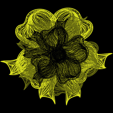 flower on head: Abstract illustration of one bright floral vector graphic flower head beautiful shape yellow color on black background Illustration
