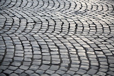 Pavement Flag Stone Laid In Circular Pattern Slate Dark Grey Outdoor Floor Surface Covering On