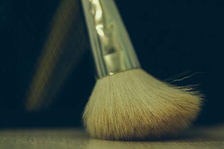 tabel: Makeup brush on background of tabel. Make-up background