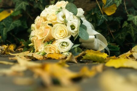 splendid: Wedding bouquet of fresh yellow splendid roses laying on leaves Stock Photo