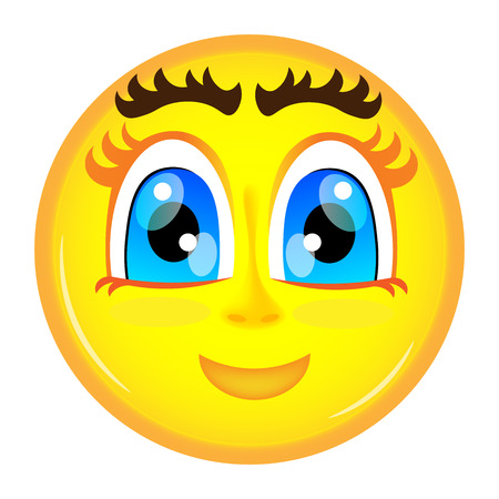 big eyes: Smiling emoticon yellow color with big eyes Illustration