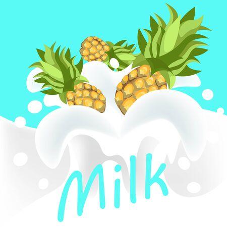yoghurt: Pine apple in milk yoghurt. Vector