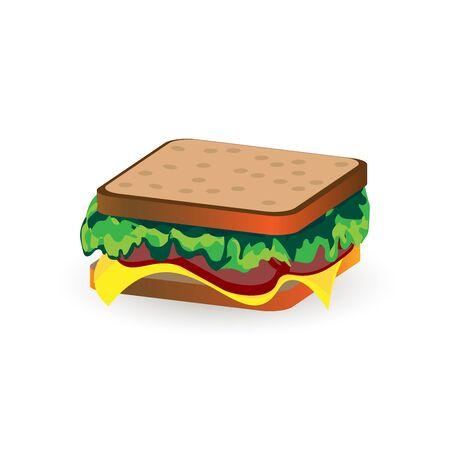 ham sandwich: Ham and vegetable sandwich illustration isolated on white
