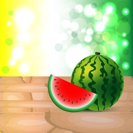 water melon: Water melon on table, copy space. Vector