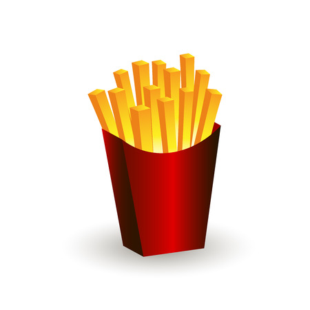 salty: Fries vector illustration. Fries in box. Fries icon.
