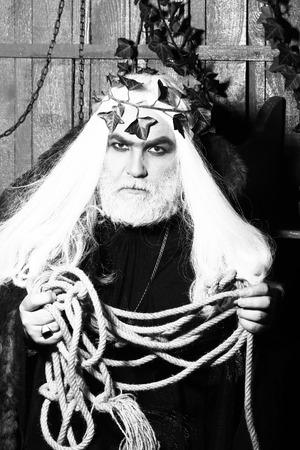 metaphysics: Zeus god or jupiter with rope. Mythology, ancient Greece, black and white Stock Photo