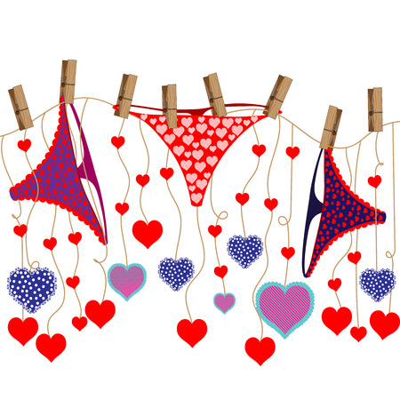 gstring: Bright color vector graphic illustration of Valentine day holiday with love symbol of beautiful heart shape and female cute pants on white background