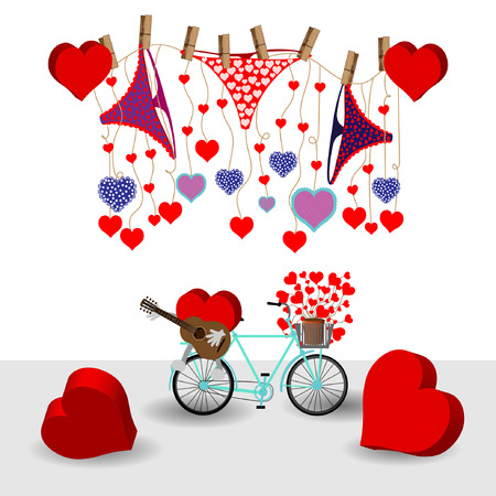 Bright color vector graphic illustration of Valentine day holiday with love symbol of beautiful heart shape and female cute pants on white background