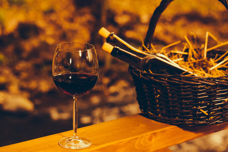 bocal: Wine glass and bottles in picnic basket with straw in twilight. Vintage look Stock Photo