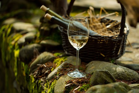 bocal: Wine glass and bottles in picnic basket with straw on stone. Vintage look Stock Photo
