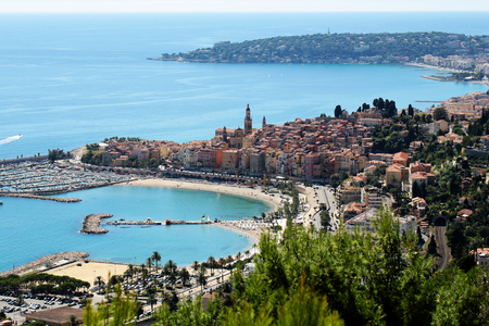 monte carlo: Monte Carlo, Monaco - September 21, 2015: city harbor beautiful panoramic view day time blue skyline on seascape background