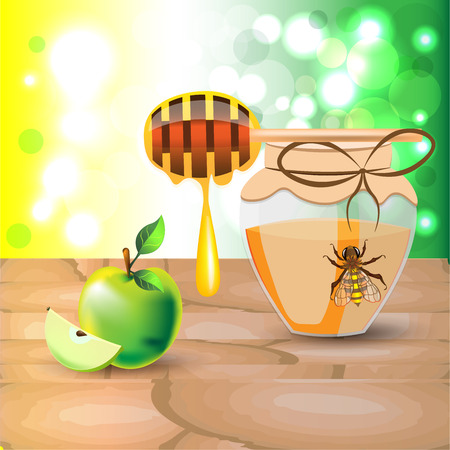 Bright colored vector set of bee on jar of sweet natural honey dipstick with nectar drop green apple and slice on wooden board on bokeh light background