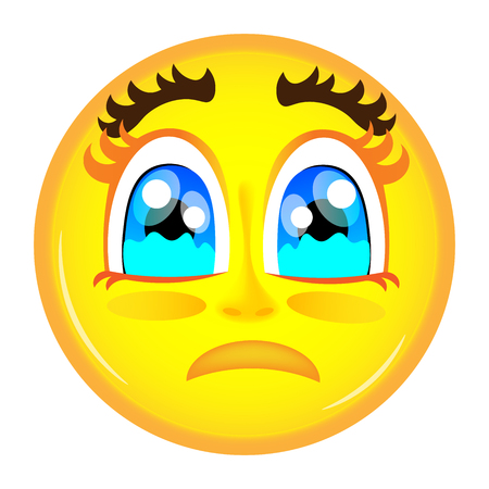 cry: Sad smiley emoticon yellow color starting cry Illustration