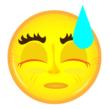closed eyes: Tired emoticon yellow color with closed eyes Illustration