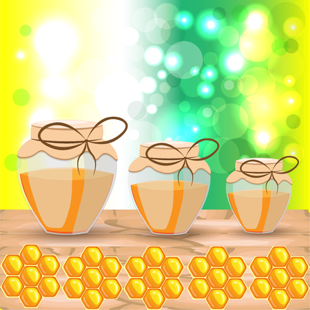 size: Bright colored vector of three different size glass jars with honey and honeycomb hexagon icons on bokeh light background Illustration