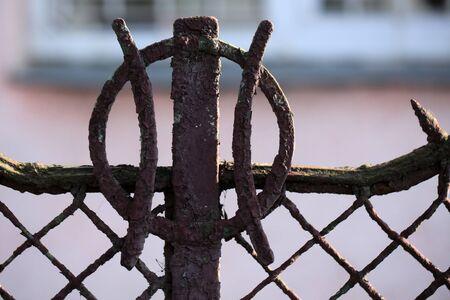 rusty fence: Vintage rusty geometric fence